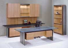 Executive Office Set with Steel I-beams and Stone & Glass tops for…