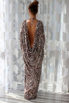 Leopard Print Long Maxi Open Back Caftan/Greek Dress/Backless Dress/Party Dress/Spring Dress/Summer dress on Etsy, $95.00