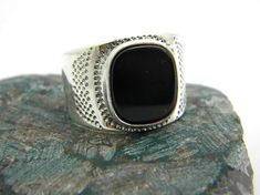 big sterling silver black onyx men's ring black by nikiforosnelly