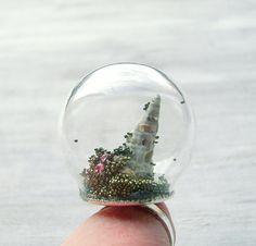 Cosmic Landscape globe ring glass dome with by BohoandBarocco