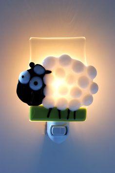 Nightlight, Sheep, fused glass, baby room decoration, nursery, shower gift, kid room, children. $38.00, via Etsy.