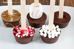 Use this Hot Chocolate Sticks recipe to make many variations for gifts or an easy and delicious hot chocolate bar! Try peppermint or salted caramel!