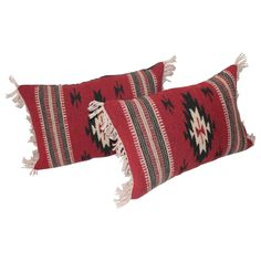 Pair of Geometric Indian Weaving Fringed Pillows | From a unique collection of antique and modern native american objects at https://www.1stdibs.com/furniture/folk-art/native-american-objects/
