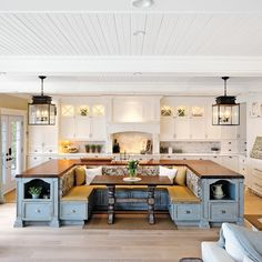 Examples of kitchen islands combined with bench seating options or full dining setups