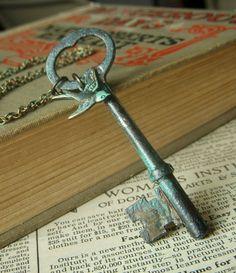 Antique Skeleton Key Necklace on Brass Patina by beadstylin