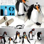 Penguins from empty toilet paper rolls