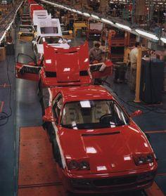 #Ferrari Factory, #Maranello, Testarossa production line.