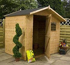 Contemplative 7ft X 5ft Shiplap Apex Wooden Shed 12mm Cladding Sand Felt Single Door 7x5 Attractive Designs; Garden Structures & Shade Garden Structures & Shade