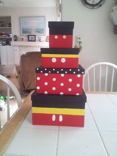 Decorated Mickey Mouse themed Boxes- This would be great for art supplies & then they could go on the shelf behind my desk. Mickey Mouse Classroom, Mickey Mouse House, Mickey Mouse 1st Birthday, Mickey Mouse Clubhouse Party, Disney Classroom, Baby Boy 1st Birthday, Mickey Mouse Parties, Mickey Party, Boy Birthday Parties