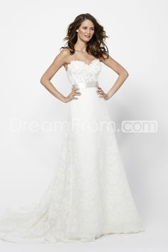 Pretty A-line Sweetheart Floor-length Chapel Lace Wedding Dresses