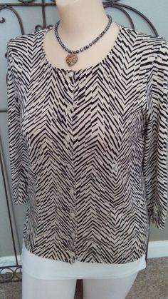 d5b059239be Ann Taylor LOFT Petites Cardigan Sweater 3 4 Sleeve Zebra Black Ivory Size  SP  AnnTaylorLOFT  Cardigan