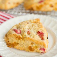 Vanilla Bean Rhubarb-Ginger Scones | Brown Eyed Baker