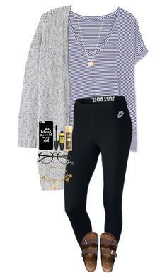"""""""Who else is NOT ready to go back to school??"""" by one-of-those-nights ❤ liked on Polyvore featuring Zara, MANGO, NIKE, Birkenstock, Gorjana, Maybelline and Sun Bum"""