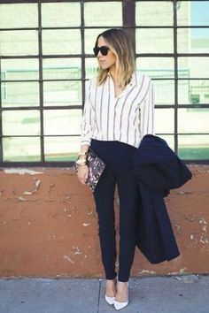 Navy suit with white striped button down shirt, white shirt, black pants, business attire, work outfit, clothes for work, work clothes, business clothes, work dress