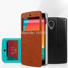 2015 Hot Sale Luxury Leather Case Cover with Flip Stand Screen Window View for LG Nexus 5 Mix Color High Quality Free Shipping