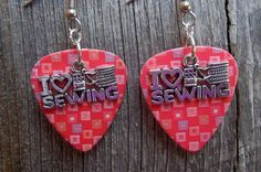 I Heart Sewing Charm on Guitar Pick Earrings - Pick Your Pattern by ItsYourPick on Etsy