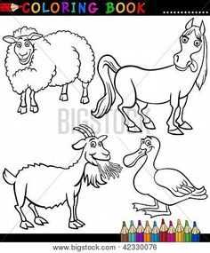 Cartoon Farm Animals For Coloring Book Poster Farm Animal