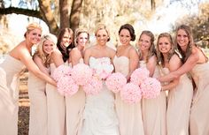 Nude / Tan / Champagne Bridesmaid Dresses | Pink and Tan Wedding | Pink Bridesmaids Bouquets | Silk Flowers | Morgann Hill Designs