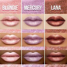 Swatches de velvetines metalicos, ¡ve por los tuyos! Lipstick Swatches, Matte Lipstick, Lipstick Colors, Liquid Lipstick, Lip Colors, Lipsticks, Makeup Swatches, Glam Makeup, Pretty Makeup