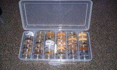 For all those who RV, put spices and seasonings in a bead storage container found at your local craft stores.