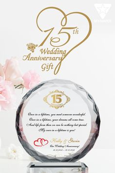 The 15th wedding anniversary is an incredible milestone for any couple and is fittingly called the Crystal Anniversary. As a couple builds their relationship and their bond from the beginning, it grows and strengthens like crystal. Immortalize the milestone with a crystal gift for the 15th anniversary. Our personalized, crystal plaques are perfect for any anniversary gifts, but for the 15th wedding anniversary, these are particularly special. Anniversary Wishes For Parents, 15th Wedding Anniversary Gift, Wishes For Brother, Crystal Gifts, Crystal Wedding, Our Wedding, Bond, Unique Gifts, Marriage