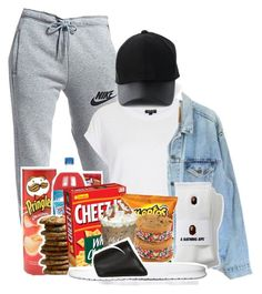 """""""Late Night Binge"""" by melaninprincess-16 ❤ liked on Polyvore featuring NIKE, Topshop, Levi's, Amiee Lynn, men's fashion and menswear"""