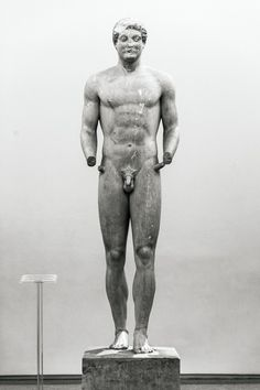 Kouros of Aristodikos. The Kouros that stood above the tomb of Aristodikos in Mesogia, Attica,   Greece (510-500 BC). National Archaeological Museum, no. Euro. 3938. Photo: Paris Titian / LIFO. © Ministry of Culture and Sport / Archaeological Resources Fund