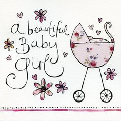 Pink Pram & Flowers Beautiful Baby Girl Card