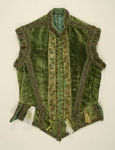 Doublet Date: ca. 1580 Culture: European Medium: silk, metallic thread, brass Dimensions: Length at CB: 22 in. cm) Credit Line: Catherine Breyer Van Bomel Foundation Fund, 1978 Accession Number: This artwork is not on display Costume Renaissance, Medieval Costume, Renaissance Clothing, Renaissance Fashion, Medieval Gown, 16th Century Clothing, 16th Century Fashion, 17th Century, Clothing And Textile
