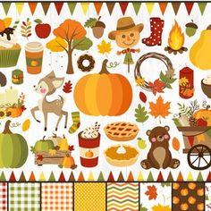 Fall Clipart Autumn Clipart Fall Harvest Clipart Pumpkins | Etsy Fall Clip Art, Thanksgiving, Plus 4, Diy Invitations, Fall Wreaths, Fall Harvest, Happy Fall, Autumn Leaves, Autumn Art