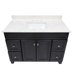US Marble Cultured Marble Vanity top. Steel Grey on White with Rectangle White Under mount Bowl.