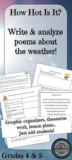 Use your students' natural curiosity with weather (especially the extreme kind!) to analyze poems about the weather, explore the thesaurus, expand vocabulary, create hyperboles, and write original weather poems.