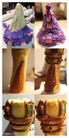 Rapunzel Tower Cake in the making