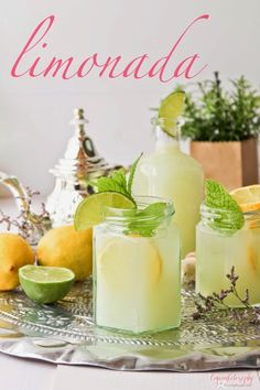 Lemonade Recipe with a touch of mint Cocktail Drinks, Cocktails, Mixed Drinks, Smoothies, Summer Time, Panna Cotta, Food And Drink, Healthy Recipes, Recipes