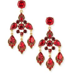 Oscar de la Renta Cardinal Red Crystal Chandelier Clip-On Earrings (10 690 UAH) ❤ liked on Polyvore featuring jewelry, earrings, red clip on earrings, chandelier earrings, clip earrings, crystal jewelry and red swarovski crystal earrings