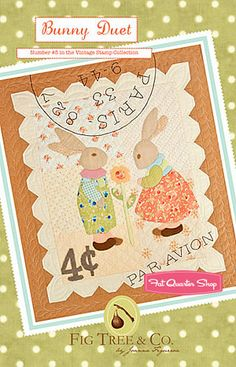 Bunny Duet Postage Stamp quilt by Fig Tree Quilts