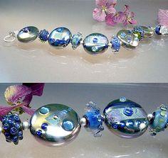 Silver Blue Bracelet handmade lampwork beads by manuelawutschke