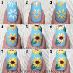 http://www.manictalons.com/2014/08/pretty-little-sunflowers-with-couture.html - Gel Polish Sunflower Manicure Tutorial