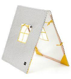 Ferm Living Tent inklapbaar grijs/wit/geel katoen/hout 100x100x80 cm - wonenmetlef.nl