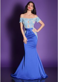 Satin, fine mesh and lace embroidery dress Long, mermaid evening gown  Off-the-shoulders, see-through top adorned with hand-sewn lace  Medium volume skirt Waistline market with satin ribbon Color: light blue and dark blue Dress closure: invisible back zipper Medium train  ***Dry-clean only