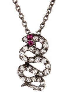 Elizabeth and James White Sapphire & Ruby Black Snake Pendant Necklace on HauteLook