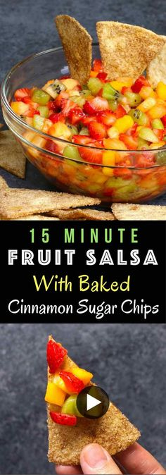 Super Easy Fruit Salsa With Baked Cinnamon Tortilla Chips – delicious fruit salsa in crispy and sweet cinnamon sugar chips. An easy dessert that comes together in no time. All you need is a few simple ingredients: Flour Tortillas, butter, cinnamon, sugar, pineapple, strawberries, kiwi, mango and lemon. It's the perfect way to serve fruits to a crowd! Quick and easy recipe. Great for party dessert and holiday brunch such as Easter, Mother's Day or Father's Day. Video recipe. | Tipbuzz.com