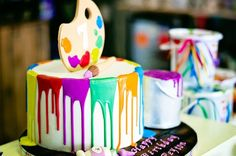 Paint drizzle birthday cake from a Rainbow Art + Painting Party via Kara's Party Ideas | KarasPartyIdeas.com (23)
