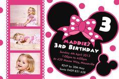 Minnie Mouse Birthday Invitation - Personalised Girl Photo Invitations