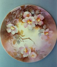 overglaze mineral paint on porcelain, wild roses by Jean Sadler  Doesn't this look like the flowers are in a secret place? Hidden waiting for you to see them.  I love this one.