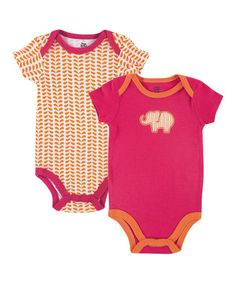 Look what I found on #zulily! Orange & Pink Elephant Bodysuit Set by Yoga Sprout #zulilyfinds Also on my registry!