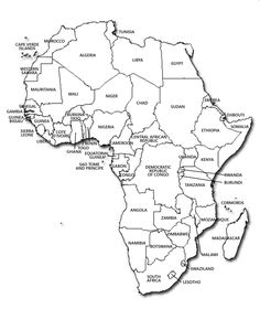Political map of Africa / Mapa polityczna Afryki Printable Maps, Printable Worksheets, School Worksheets, Worksheets For Kids, African Countries Map, Continents And Oceans, New Africa, Africa News, South Africa
