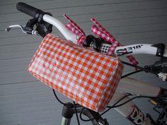 Waterproof handlebar bags, bike pouch for women, small bike bags, retro oilcloth.