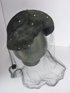 1940s Hat with Full Veil Black Feathers and Rhinestones.