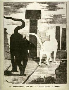 Edouard Manet, Le rendez-vous des chats (The cats' rendezvous) from La chronique illustré, ca. 1868, Print, Fine Arts Museums of San Francisco, San Francisco    Source: lemewsee